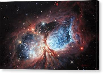 The Brush Strokes Of Star Birth Canvas Print by Lucy West