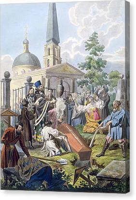 The Burial, 1812-13 Canvas Print by E. Karnejeff