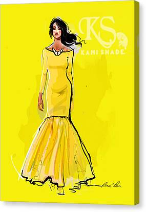 The Canary Dress With Kami Shade' Logo Canvas Print by Renee Reeser Zelnick