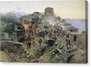 The Capture Of Aul Gimry, 17th October 1832, 1891 Oil On Canvas Canvas Print by Franz Roubaud