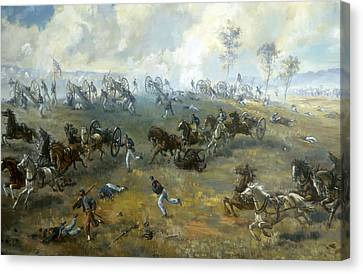 The Capture Of Ricketts' Battery At Bull Run Canvas Print by Mountain Dreams