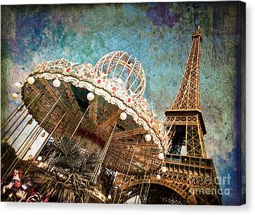 The Carrousel Of The Eiffel Tower Canvas Print by Delphimages Photo Creations
