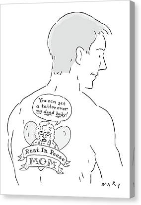 The Cartoons Shows A Man With A Large Back Tattoo Canvas Print by Kim Warp