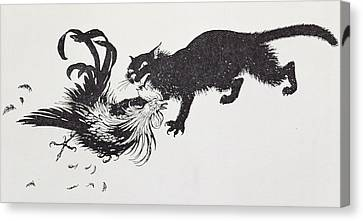 The Cat And The Cock Canvas Print by Arthur Rackham