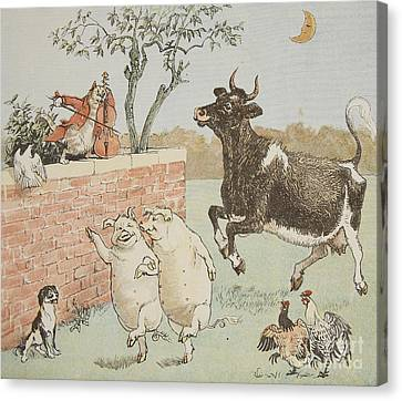 The Cat And The Fiddle Canvas Print by Randolph Caldecott