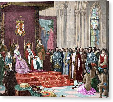 The Catholic Kings Receiving Columbus Canvas Print by Prisma Archivo