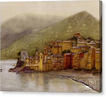 The Charming Town Of Camogli Italy Canvas Print by Nan Wright