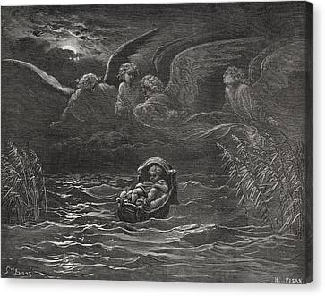 The Child Moses On The Nile Canvas Print by Gustave Dore