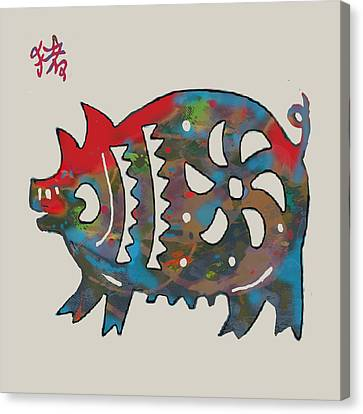 The Chinese Lunar Year 12 Animal - Boar Pig  Pop Stylised Paper Cut Art Poster Canvas Print by Kim Wang