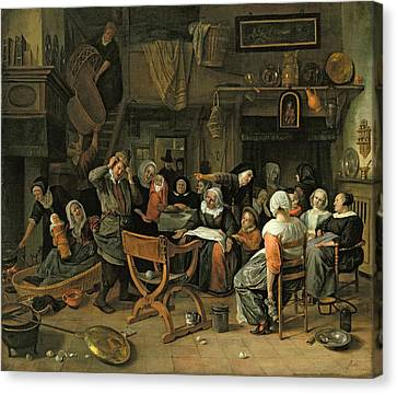 The Christening Feast, 1668 Oil On Canvas Canvas Print by Jan Havicksz. Steen