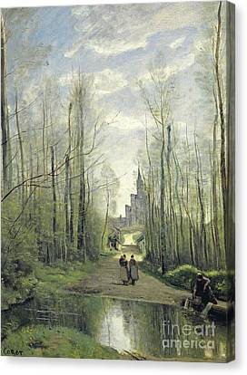 The Church At Marissel Canvas Print by Jean Baptiste Camille Corot