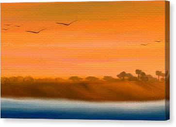 The Cliffs At Sunset - Digital Artwork Canvas Print by Gina Lee Manley