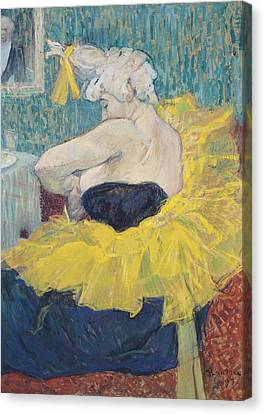 The Clowness Cha-u-kao In A Tutu Canvas Print by Henri de Toulouse-Lautrec