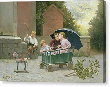 The Coach Ride Canvas Print by Charles Bertrand DEntraygues