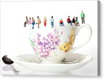 The Coffee Time Little People On Food Canvas Print by Paul Ge