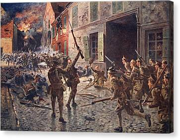 The Coldstream Guards At Landrecies Canvas Print by William Barnes Wollen