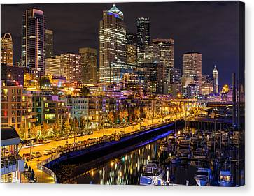 The Colors Of Night Lights In Seattle Canvas Print by Ken Stanback