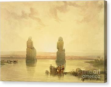 The Colossi Of Memnon Canvas Print by David Roberts