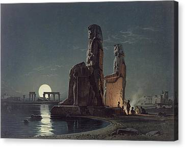 The Colossi Of Memnon, Thebes, One Canvas Print by Carl Friedrich Heinrich Werner