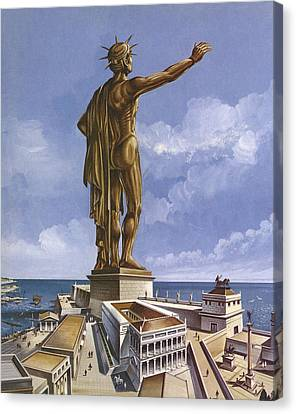 The Colossus Of Rhodes Colour Litho Canvas Print by English School