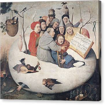The Concert In The Egg Oil On Panel Canvas Print by Hieronymus Bosch