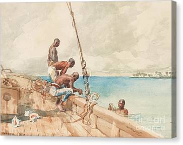The Conch Divers Canvas Print by Winslow Homer