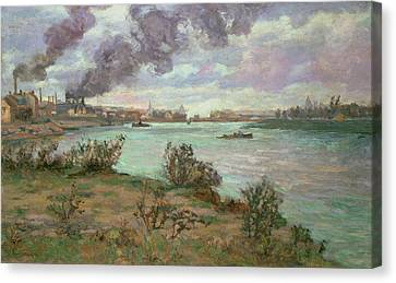 The Confluence Of The Seine And The Marne At Ivry Canvas Print by Jean Baptiste Armand Guillaumin