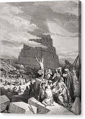 The Confusion Of Tongues Canvas Print by Gustave Dore