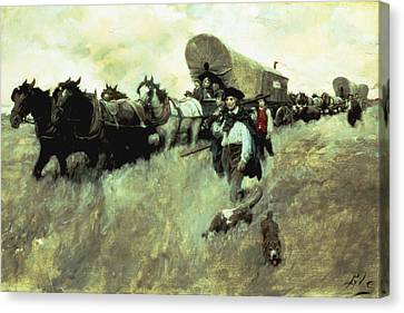 The Connecticut Settlers Entering Canvas Print by Howard Pyle