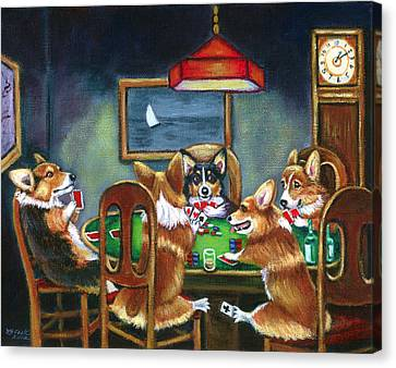 Cartoon Canvas Print featuring the painting The Corgi Poker Game by Lyn Cook