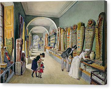 The Corridor And The Last Cabinet Of The Egyptian Collection In The Ambraser Collection Canvas Print by Carl Goebel