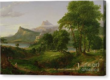 The Course Of Empire   The Arcadian Or Pastoral State Canvas Print by Thomas Cole
