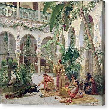 The Court Of The Harem Canvas Print by Albert Girard