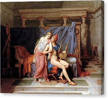 The Courtship Of Paris And Helen Canvas Print by Jacques Louis David