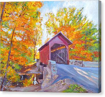 The Covered Bridge Canvas Print by David Lloyd Glover