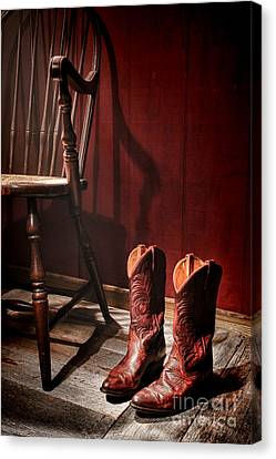 The Cowgirl Boots And The Old Chair Canvas Print by Olivier Le Queinec