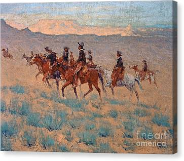 The Cowpunchers Canvas Print by Frederic Remington