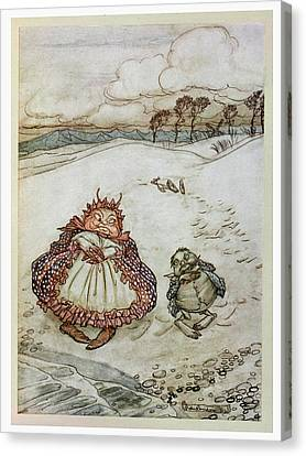 The Crab And His Mother, Illustration From Aesops Fables, Published By Heinemann, 1912 Colour Litho Canvas Print by Arthur Rackham