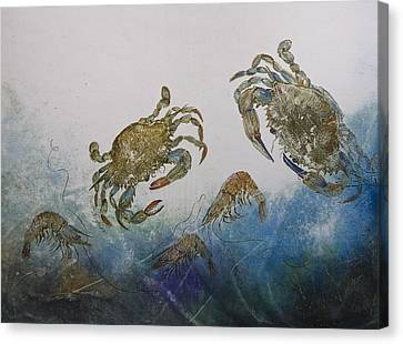 The Crabby Couple Canvas Print by Nancy Gorr