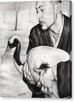 The Crane Wife Canvas Print by Mark Zelmer