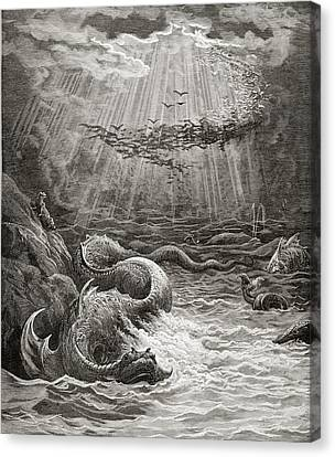 The Creation Of Fish And Birds Canvas Print by Gustave Dore