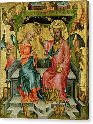 The Crowning Of The Virgin, From The Right Wing Of The Buxtehude Altar, 1400-10 Canvas Print by Master Bertram of Minden
