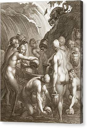 The Danaids Condemned To Fill Bored Canvas Print by Bernard Picart