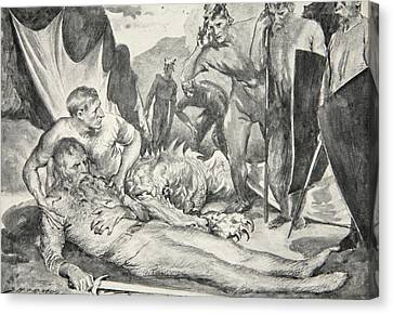 The Death Of Beowulf Canvas Print by John Henry Frederick Bacon