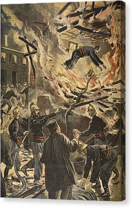 The Death Of Fireman Bailly In Bourges Canvas Print by F.L. & Tofani, Oswaldo Meaulle