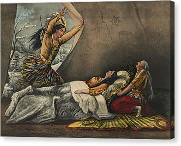 The Death Of Minnehaha Circa 1867 Canvas Print by Aged Pixel