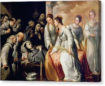 The Death Of Saint Clare Canvas Print by Bartolome Esteban Murillo