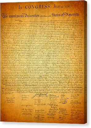 The Declaration Of Independence - America's Founding Document Canvas Print by Design Turnpike