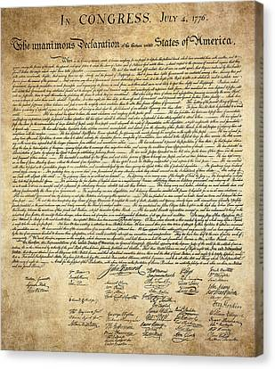 The Declaration Of Independence Canvas Print by Daniel Hagerman