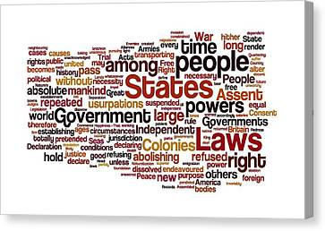 The Declaration Of Independence Canvas Print by Florian Rodarte